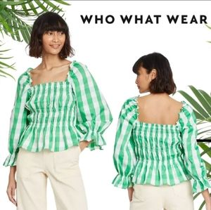 Who what wear green stripe fitted peplum top med